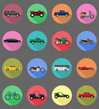 Transport flat icons vector illustration Royalty Free Stock Photos