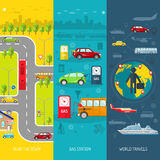 Transport flat vertical banner set Royalty Free Stock Image