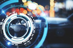 Transport and future concept. Car with modern digital interface on bokeh background. Transport and future concept. Double exposure stock photos