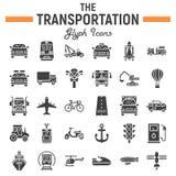 Transport Glyph-Ikonensatz, Transportsymbole Lizenzfreies Stockbild