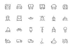 Transport Hand Drawn Doodle Icons 1 royalty free illustration