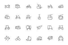 Transport-Hand gezeichnete Gekritzel-Ikonen 4 Stockfotos