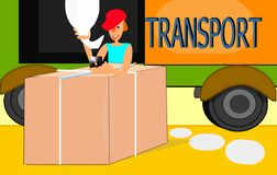 Transport of heavy goods by road. Worker loading block with crane hook on a truck with text vector illustration