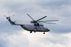 Transport helicopter. Modern russian military transport helicopter in flight Royalty Free Stock Images