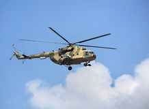 Transport helicopter. Modern russian military transport helicopter in flight Stock Images