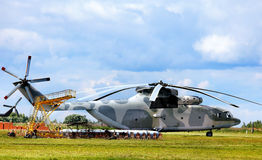 Transport helicopter on the parking place Stock Photography