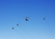 Transport helicopters in flight Stock Photography