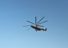 Transport helicopters in flight Stock Images