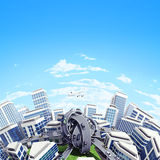 Transport hub. Tinny planet in which all the roads are tied into knots. Aerial view stock illustration