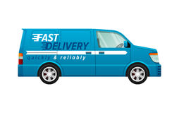 Transport. Icon of Isolated Blue Delivery Minivan Royalty Free Stock Images