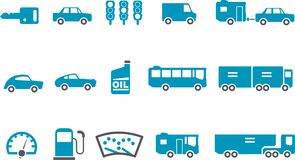 Transport Icon Set. Vector icons pack - Blue Series, transport collection Stock Image