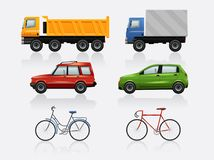 Transport icon set. Bicycle, bus, auto van Vector illustration Stock Images