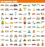 100 transport icon set, flat style. 100 transport icon set. Flat set of 100 transport vector icons for web design royalty free illustration