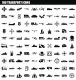 100 transport icon set, simple style. 100 transport icon set. Simple set of 100 transport icons for web design isolated on white background Vector Illustration