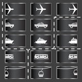 Transport icons. Transport and vehicle icons - in and out, go forward Stock Photo