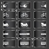 Transport icons. Transport and vehicle icons - in and out, go forward Stock Images
