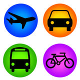 Transport icons. Colorful icons for transportation on airplane, car, bus and bike Stock Photo