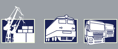 Transport icons. Three Transport icons transportation and loading Stock Photography