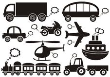 Transport icons. Set of black transport icons on white background Stock Photos