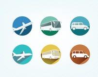 Transport icons. Transport icon set, bus, airplane, car Stock Illustration