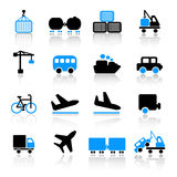 Transport icons. Set of 16 transport icons on white background Stock Photos