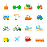 Transport icons. Set of 16 colorful transport icons Royalty Free Stock Photos