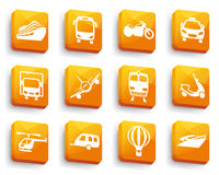 Transport icons on buttons Stock Images
