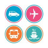 Transport icons. Car, Airplane, Bus and Ship. Royalty Free Stock Images
