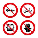 Transport icons. Car, Bicycle, Bus and Ship Royalty Free Stock Images