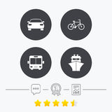 Transport icons. Car, Bicycle, Bus and Ship. Transport icons. Car, Bicycle, Public bus and Ship signs. Shipping delivery symbol. Family vehicle sign. Chat Royalty Free Stock Images