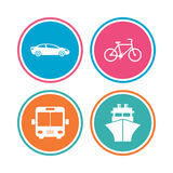 Transport icons. Car, Bicycle, Bus and Ship. Royalty Free Stock Image