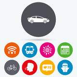 Transport icons. Car, Bicycle, Bus and Ship. Stock Photography