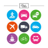 Transport icons. Car, bike, bus and taxi signs. Stock Photo