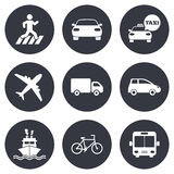 Transport icons. Car, bike, bus and taxi signs Stock Photography