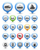 Transport Icons. Collection of map markers with transport icons Stock Images