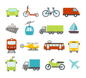 Transport Icons In Flat Design Style Stock Image