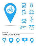 Transport icons with pointers Stock Photo