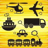 Transport icons. Set of black transport icons on yellow background Royalty Free Stock Photo