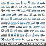 93 Transport icons set blue and gray. 93 Transport icons set bicolor (blue and gray colors), vector illustrations, silhouettes isolated on white background Stock Images