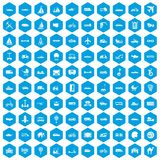 100 transport icons set blue. 100 transport icons set in blue hexagon isolated vector illustration vector illustration