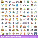 100 transport icons set, cartoon style Royalty Free Stock Images