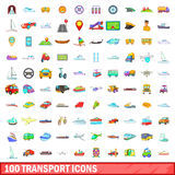 100 transport icons set, cartoon style. 100 transport icons set in cartoon style for any design vector illustration Stock Photos