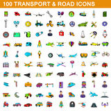 100 transport icons set, cartoon style. 100 transport icons set in cartoon style for any design vector illustration Stock Image