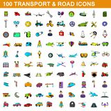 100 transport icons set, cartoon style. 100 transport icons set in cartoon style for any design illustration royalty free illustration