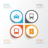 Transport Icons Set.. Collection Of Cab, Railway, Omnibus And Other Elements Royalty Free Stock Images