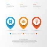 Transport Icons Set. Collection Of Cab, Way, Stoplight And Other Elements. Also Includes Symbols Such As Cab, Highway. Transport Icons Set. Collection Of Cab Royalty Free Stock Photos