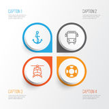 Transport Icons Set. Collection Of College Transport, Anchor, Chopper And Other Elements. Also Includes Symbols Such As Royalty Free Stock Images