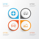 Transport Icons Set. Collection Of Lorry, Automobile, Baggage Carousel And Other Elements. Also Includes Symbols Such As Royalty Free Stock Photography