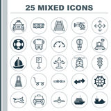 Transport Icons Set. Collection Of Speed Checker, Flight Vehicle, Navigation Arrows And Other Elements. Also Includes. Transport Icons Set. Collection Of Speed Royalty Free Stock Images