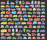 Transport icons set colored stickers Royalty Free Stock Photos